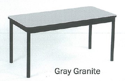 "Correll LR3672 15 Economical Library Table Wear Resistant Surface T Mold Edge 36x72"" Gray Granite"