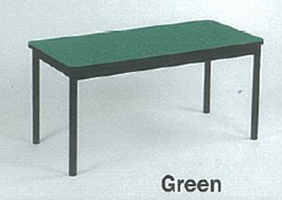 "Correll LR2460 39 Economical Library Table w/ Wear Resistant Surface, T Mold Edge, 24x60"", Green"