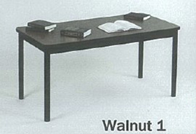 "Correll LR3672 01 Economical Library Table w/ Wear Resistant Surface & T Mold Edge 36x72"" Walnut"