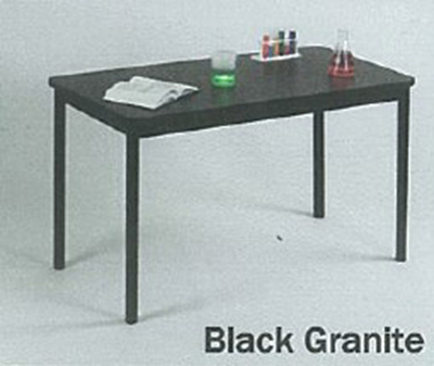 "Correll LT2472 07 Economical Lab Table Wear Resistant Surface T Mold Edge 24x72"" Black Granite"