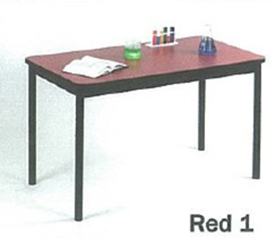 "Correll LT3672 35 Economical Lab Table w/ Wear Resistant Surface & T Mold Edge, 36x72"", Red"