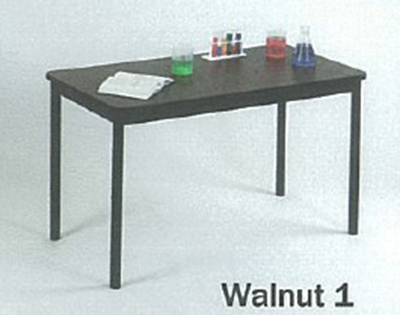 Correll LT2448 01 Economical Lab Table w/ Wear Resistant Surface & T Mold Edge, 24x48-in, Walnut