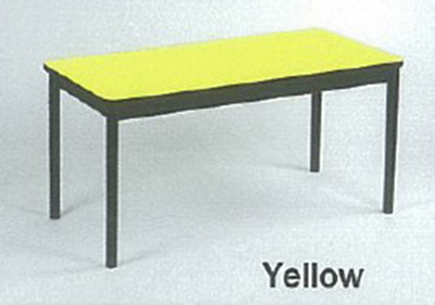 Correll LT2472 38 Economical Lab Table w/ Wear Resistant Surface & T Mold Edge, 24x72-in, Yellow