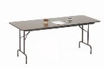 "Correll PC1872P 01 Solid Plywood Core Folding Table w/ Premium Top, 18 x 72"", Walnut"