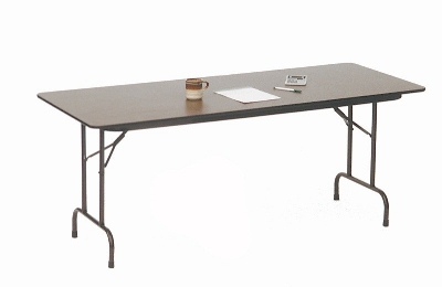 "Correll PC2496P 01 Solid Plywood Core Folding Table w/ Premium Top, 24 x 96"", Walnut"