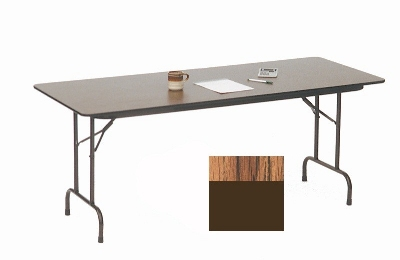 "Correll PC2496P 06 Solid Plywood Core Folding Table w/ Premium High-Pressure Top, 24 x 96"", Oak"