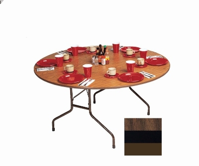 Correll PC60P 01 60-in Round Solid Plywood Core Folding Table w/ Premium Top, Walnut