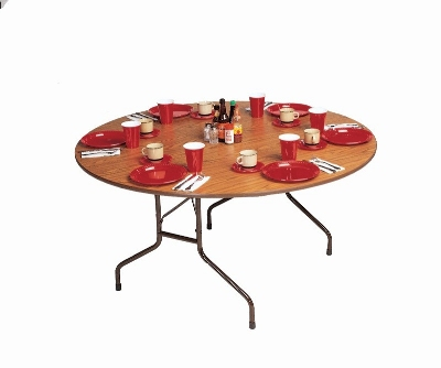 "Correll PC60P 06 60"" Round Solid Plywood Core Folding Table w/ Premium High-Pressure Top, Oak"