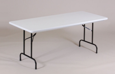 Correll RA2448 23 Folding Table w/ Gray Plastic Top, Adjustable Height, 24 x 48-in