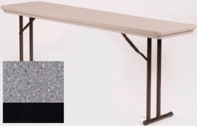 "Correll R1872TL 23 Folding Seminar Table w/ Blow-Molded Top & T-Leg, 18 x 72"", Gray Granite"