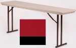 "Correll R3072 25 Folding Seminar Table w/ Blow-Molded Top, 30 x 72"", Red"