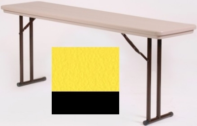 "Correll RA3072 28 Folding Seminar Table w/ Blow-Molded Top, Adjusts To 32"" H, 30 x 72"", Yellow"
