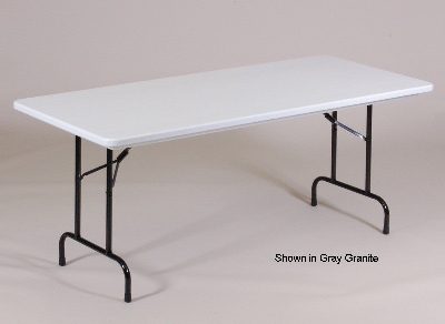 "Correll R3072TL 25 Folding Seminar Table w/ Blow-Molded Top & T-Leg, 30 x 72"", Red"