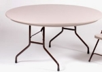 "Correll R60 24 Folding Table w/ Mocha Molded Plastic Top, 60"" Round"