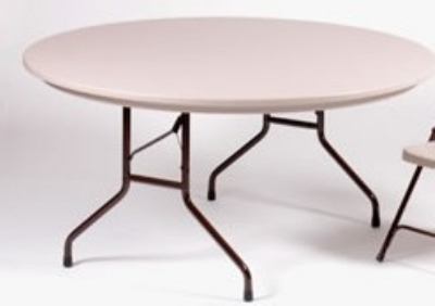 "Correll R60 23 Folding Table w/ Gray Molded Plastic Top, 60"" Round"
