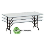 "Correll RA3072-AM 223223 Anti-Microbial Blow-Mold Table, Adjust To 32"", 30 x 72"", Gray Granite/Black"