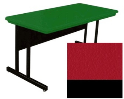 "Correll RCS2448 25 26"" Computer Training Table w/ Blow-Molded Top, 24 x 48"", Red"