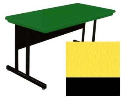 Correll RCS3072 28 26-in Computer Training Table w/ Blow-Molded Top, 30 x 72-in, Yellow
