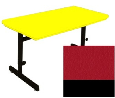 "Correll RCSA2448 25 Computer Training Table w/ Blow-Molded Top, Adjusts to 29"", 24 x 48"", Red"