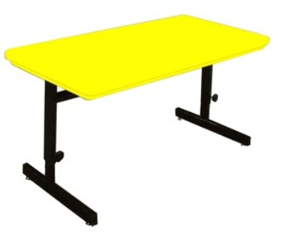 "Correll RCSA3072 28 Computer Training Table w/ Blow-Molded Top, Adjusts to 29"", 30 x 72"", Yellow"