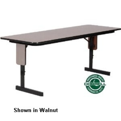 "Correll SPA2496PX 01 24 x 96"" Panel Leg Seminar and Training Table, Adjust to 32"" H, Walnut/Black"