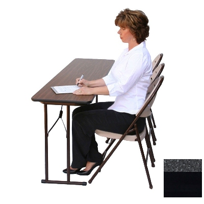 "Correll ST2496P X 07 Off-Set Leg Seminar Table w/ .75"" High Pressure Top, 24 x 96"", Black Granite"