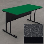 "Correll WS2460 07 29"" Desk Height Work Station w/ 1.25"" Top, 24 x 60"", Black Granite/Black"