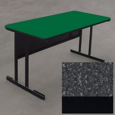 "Correll WS2472 07 29"" Desk Height Work Station w/ 1.25"" Top, 24 x 72"", Black Granite/Black"