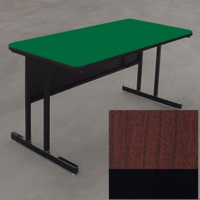 "Correll WS2460 21 29"" Desk Height Work Station w/ 1.25"" Top, 24 x 60"", Cherry/Black"