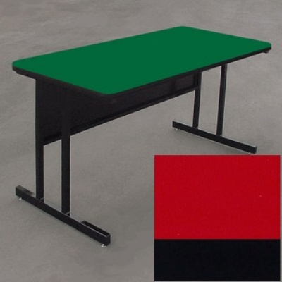 "Correll WS2460 25 29"" Desk Height Work Station w/ 1.25"" Top, 24 x 60"", Red/Black"