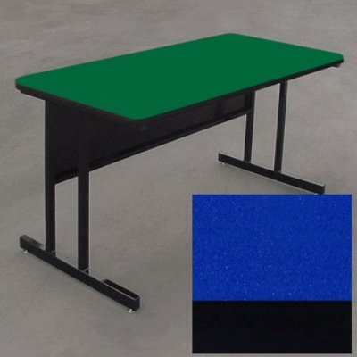 "Correll WS2472 27 29"" Desk Height Work Station w/ 1.25"" Top, 24 x 72"", Blue/Black"