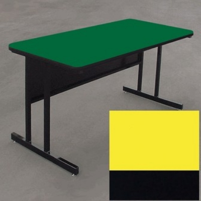 "Correll WS3072 28 29"" Desk Height Work Station w/ 1.25"" Top, 30 x 72"", Yellow/Black"