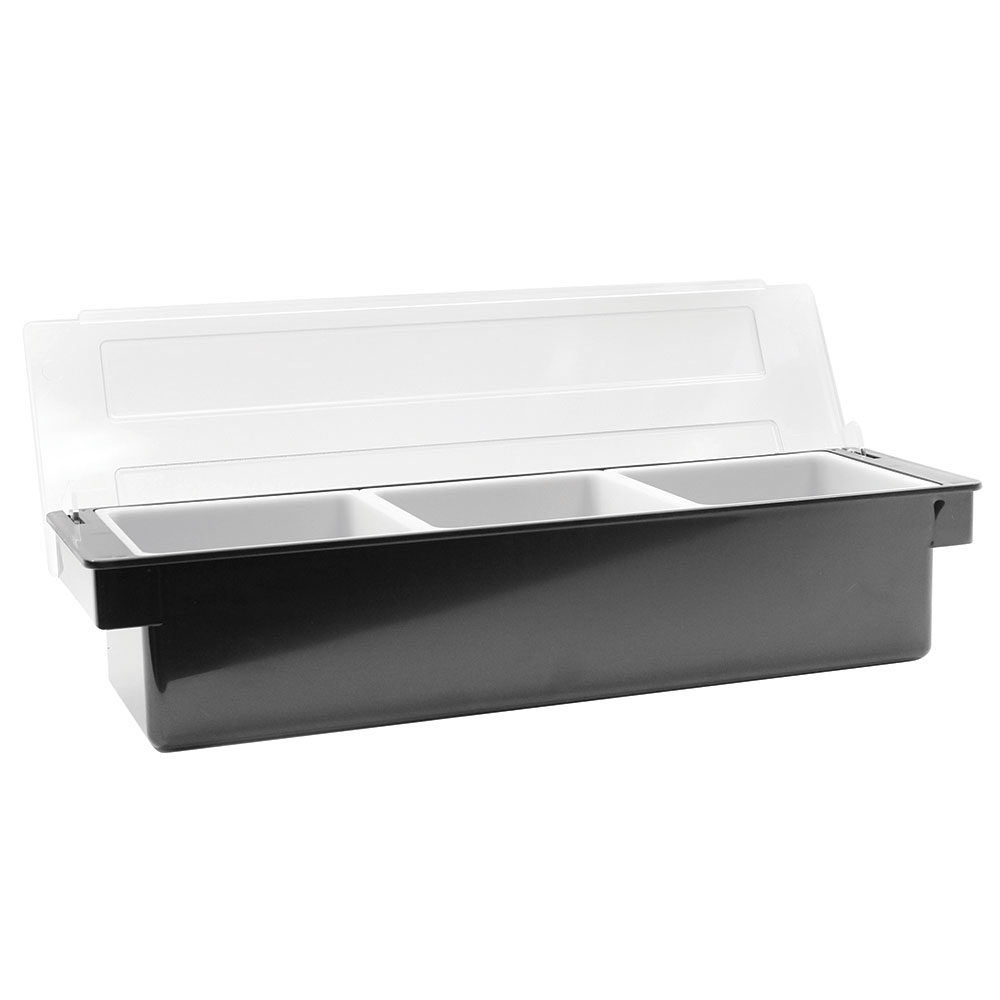 Tablecraft 104 Bar Condiment Holder, (3) 1-quart White Inserts, Black