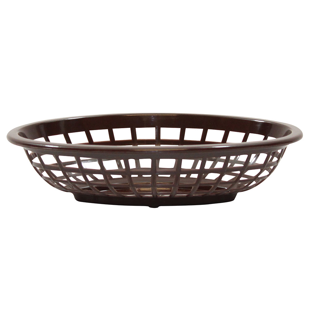 "Tablecraft 1071BR Oval Side Order Basket, 7.73 x 5.5 x 1-7/8"", Brown"
