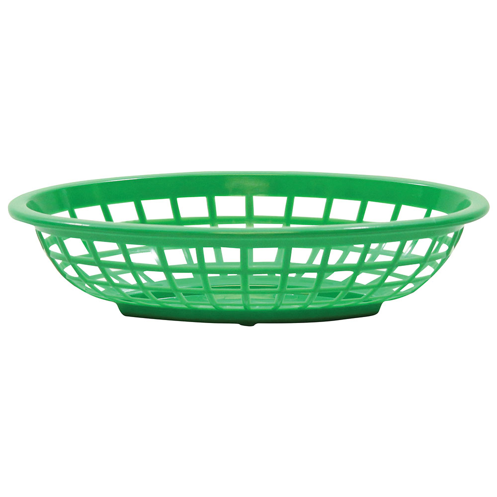 "Tablecraft 1071G Oval Side Order Basket, 7.73 x 5.5 x 1-7/8"", Green"