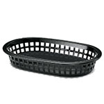 "Tablecraft 1073BK Platter Basket, 8-1/2 x 6 x 1-1/2"", Polypropylene, Oval, Black"