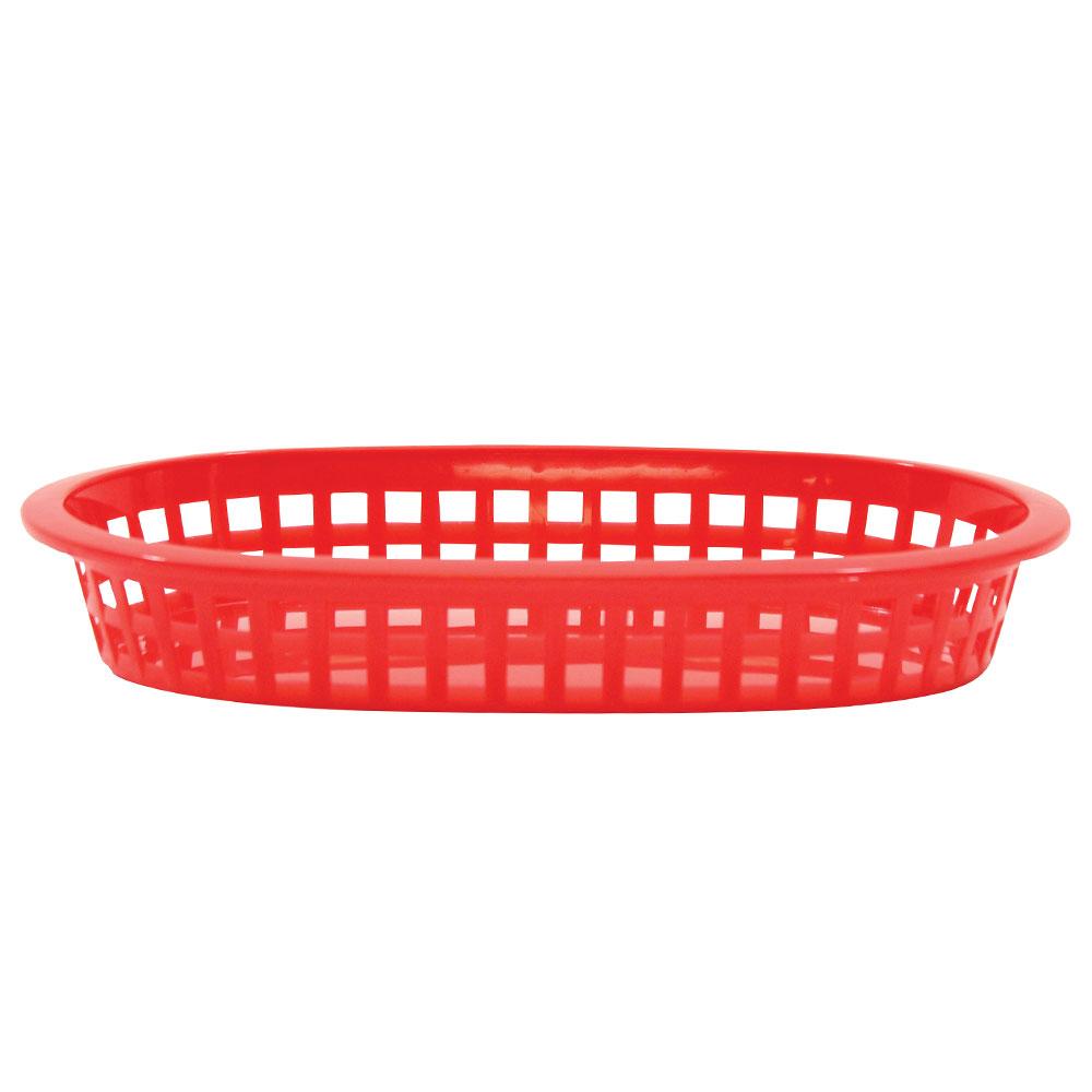 "Tablecraft 1073R Platter Basket, 8-1/2 x 6 x 1-1/2"", Polypropylene, Oval, Red"