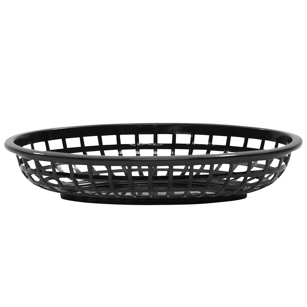 "Tablecraft 1074BK Classic Basket, 9-3/8 x 6 x 1-7/8"", Polyethylene, Oval, Black"