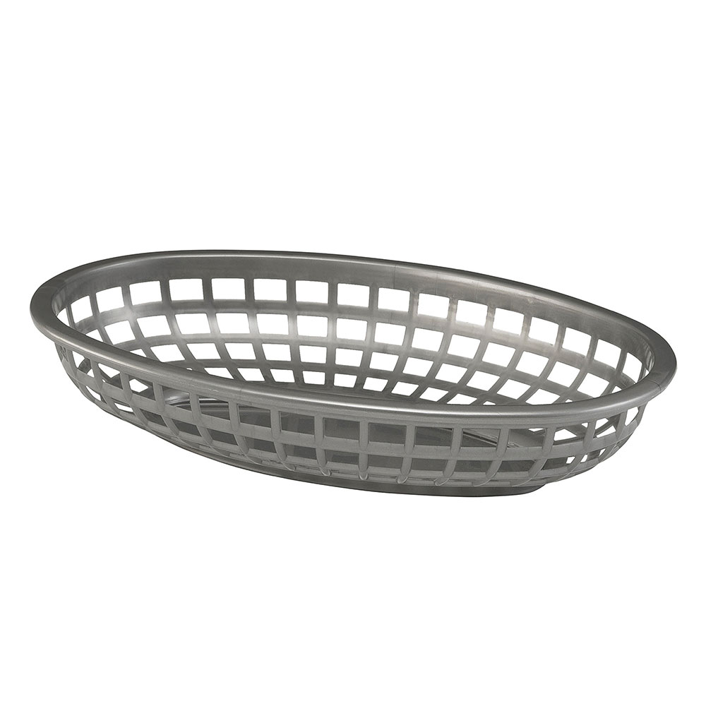 Tablecraft 1074GM Classic Oval Basket, 9-3/8 x 6 x 1-7/8-in, Poly, Gunmetal
