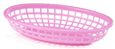 Tablecraft 1074P Classic Oval Basket, 9-3/8 x 6 x 1-7/8-in, Poly, Pink