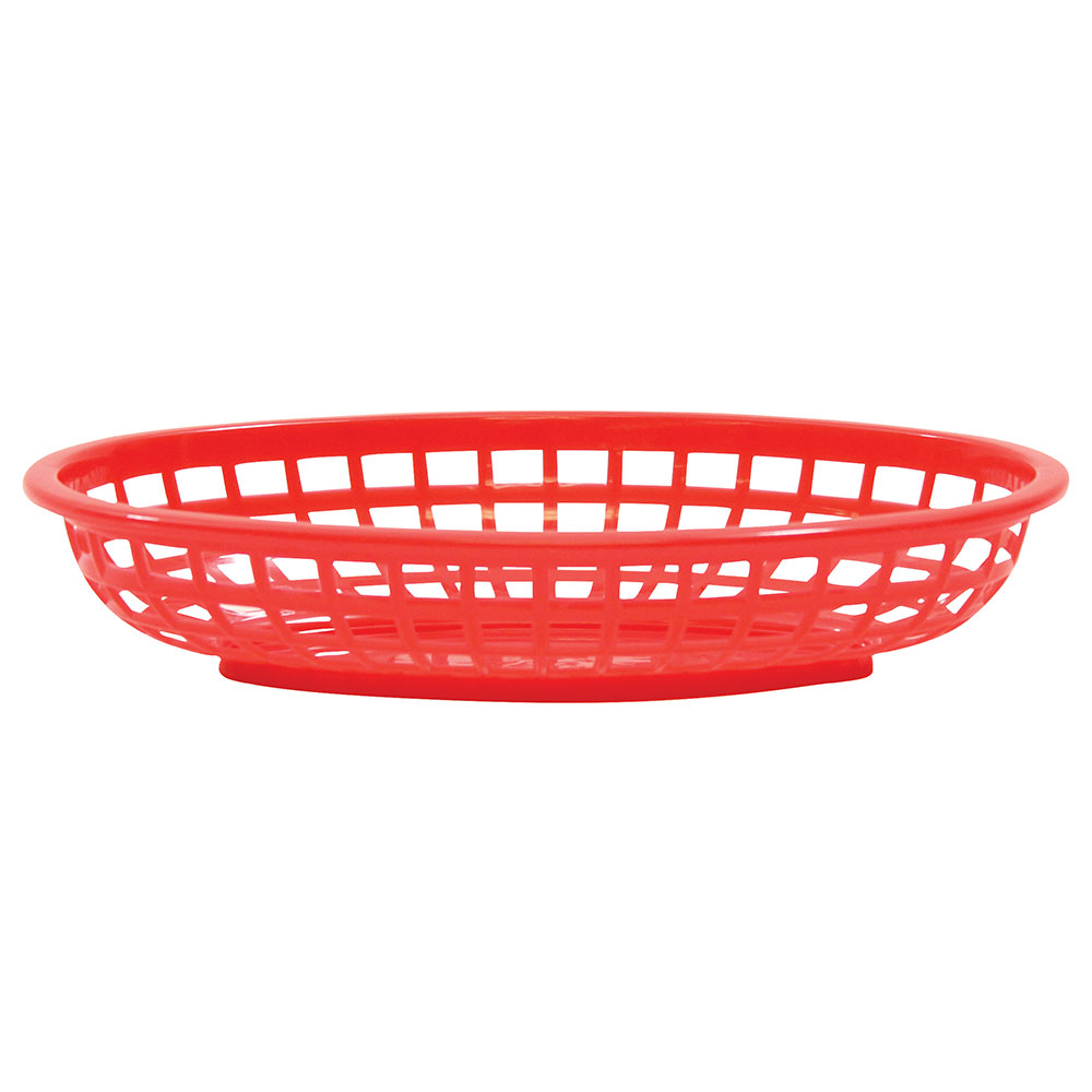 "Tablecraft 1074R Classic Basket, 9-3/8"" X 6"" X 1-7/8 in, Oval, Poly, Red"