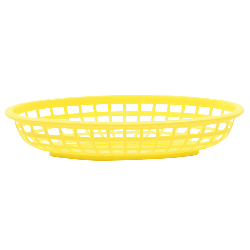 Tablecraft 1074Y Classic Basket, 9-3/8 in x 6 in x 1-7/8 in, Oval, Poly, Yellow
