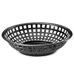 "Tablecraft 1075BK Round Serving Basket, 8"" x 2-3/8"", Poly, Black"