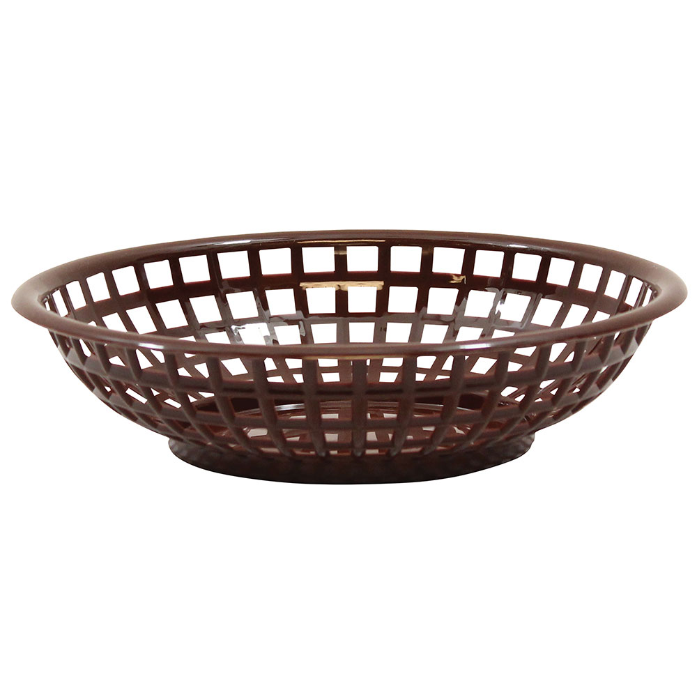Tablecraft 1075BR Round Serving Basket, 8 x 2-3/8-in, Poly, Brown