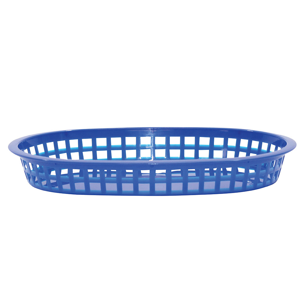 Tablecraft 1076BL Chicago Platter Basket, 10.5 x 7 x 1.5-in, Oval, Blue