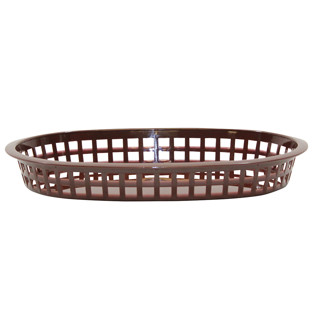 Tablecraft 1076BR Chicago Platter Basket, 10.5 x 7 x 1.5-in, Oval, Brown