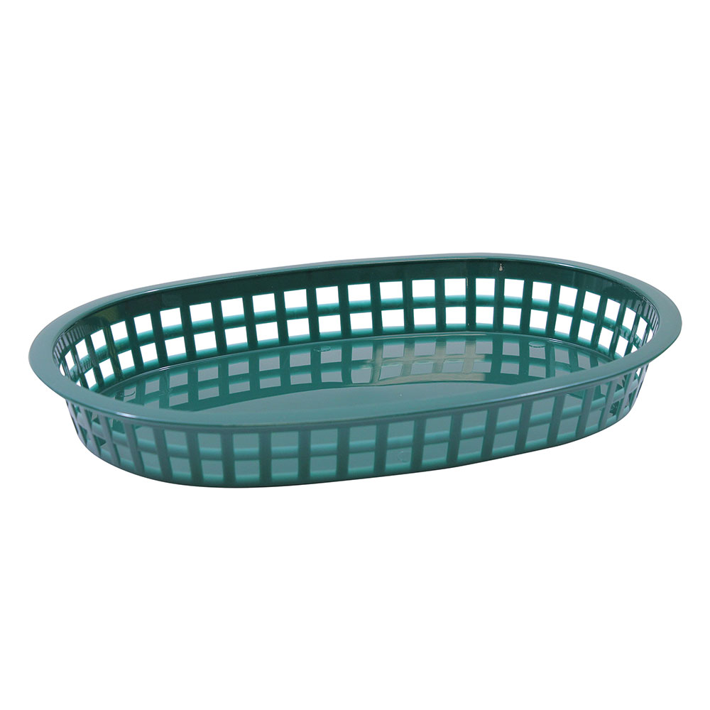"Tablecraft 1076FG Chicago Platter Basket, 10.5 x 7 x 1.5"", Oval, Forest Green"