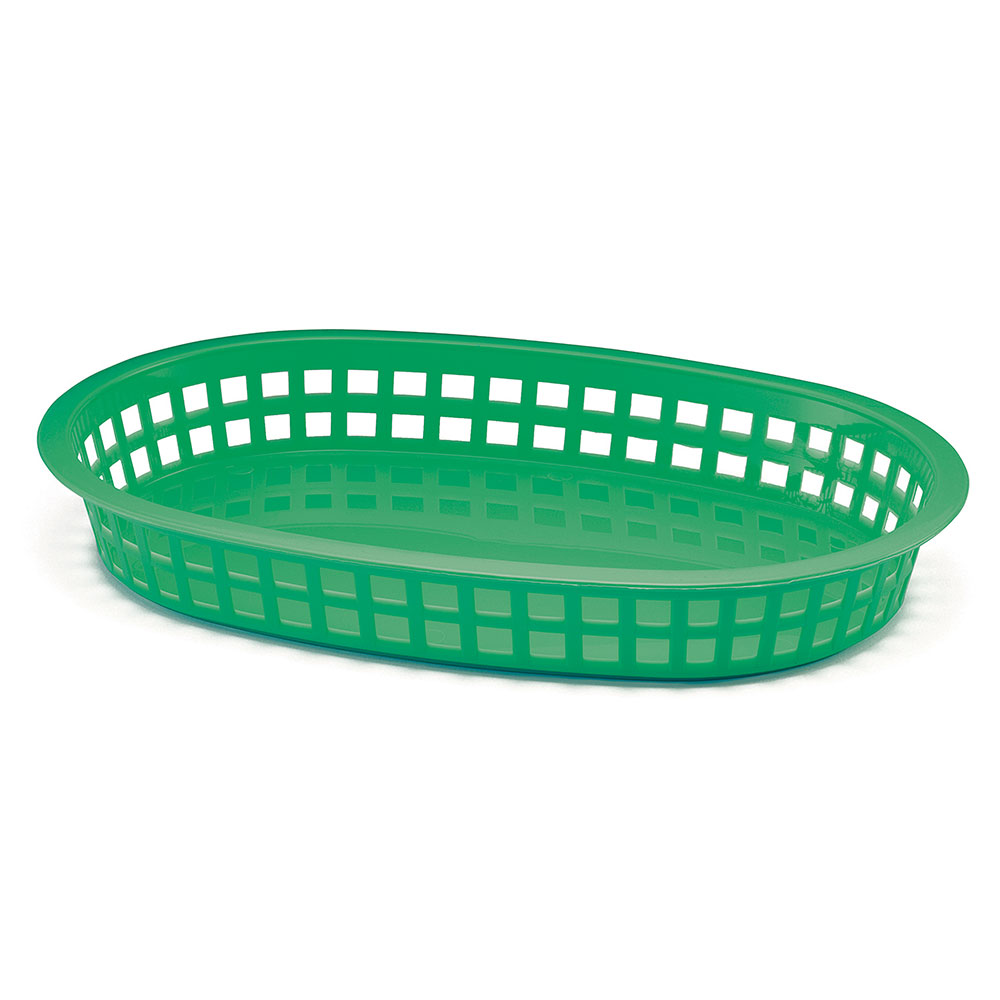 "Tablecraft 1076G Chicago Platter Basket, 10.5 x 7 x 1.5"", Oval, Green"