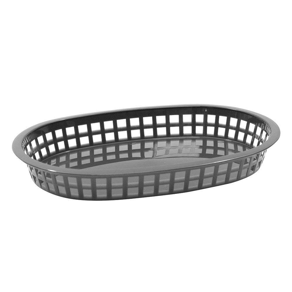 "Tablecraft 1076GM Oval Platter Basket, 10.6 x 7 x 1.5"", Poly, Gunmetal"