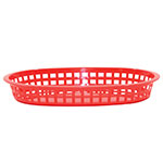 "Tablecraft 1076R Chicago Platter Basket, 10.5 x 7 x 1.5"", Oval, Red"